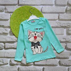 Трикотажные кофточки с котятами для девочек 1-8 лет. Турция