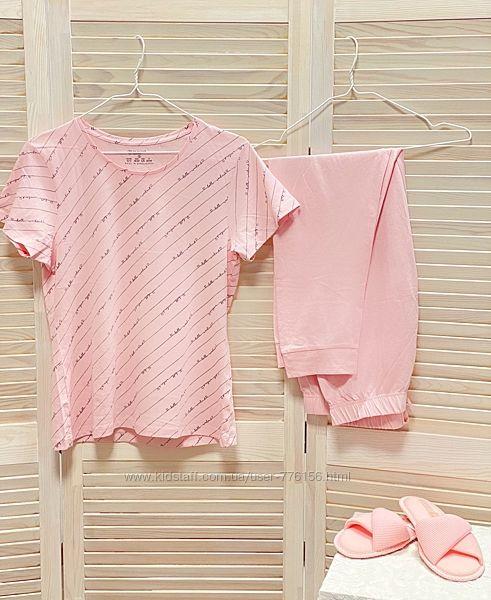 Нежная качественная коттоновая пижама футболка и штаны Primark