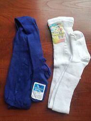 Колготы детские 17-18 размер на 104-110 см колготки хлопок белые синие