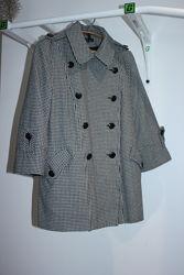 Стильное короткое пальто в клетку Topshop 50 шерсть размер 44 на 50