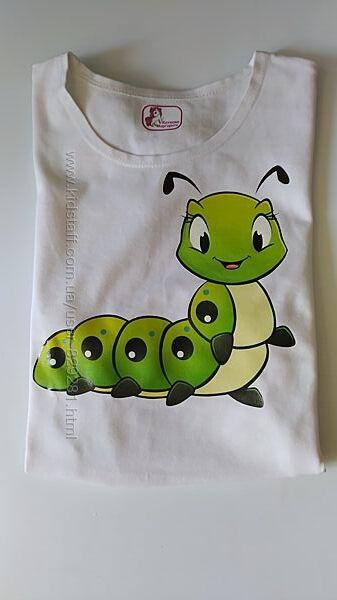 футболка с гусеницей. Качественный принт