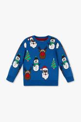 Теплый свитер с новогодним рисунком, фирма с&а