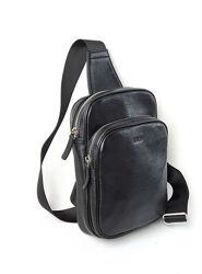Кожаная мужская сумка слинг Leon M-74 black. Новинка.