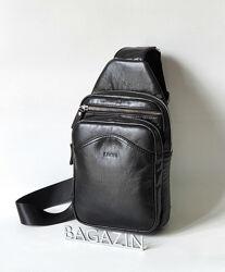 Кожаная мужская сумка слинг Leon M-69.