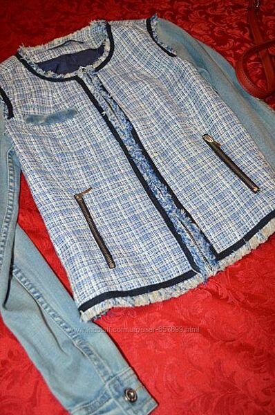 Стильная классная джинсовка с твидовыми вставками от stradivarius
