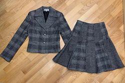 Теплый костюм юбка и пиджак, 70 шерсть, качество