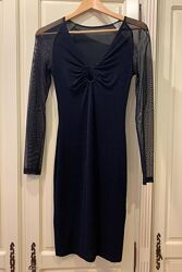 Платье вечернее черное на S, 42 по бирке