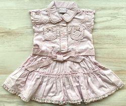 Летнее нарядное хлопковое платье Next 3 6 9 месяцев 1 год кежуал платьеце