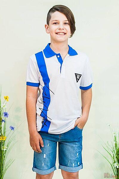 Тенниска белая с голубым воротничком для мальчика Marions