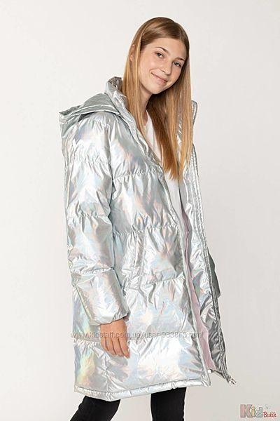 Куртка удлинённая серебристого цвета для девочки Reporter Young
