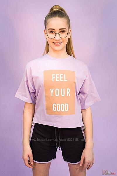 Стильная трикотажная футболка с принтом Feel your good для девочки Marions