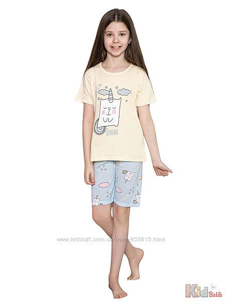 Пижама футболкашорты с единорогом и луной Dreams для девочки Minimoon Оптом и в розницу