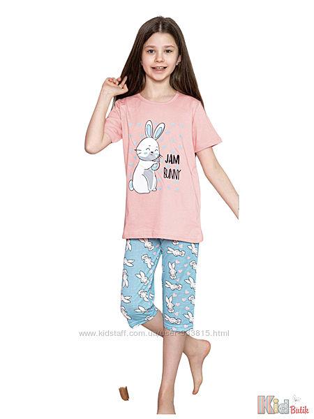 Пижама футболкабриджи с кроликом Jam Bunny для девочки Minimoon Оптом и в розницу