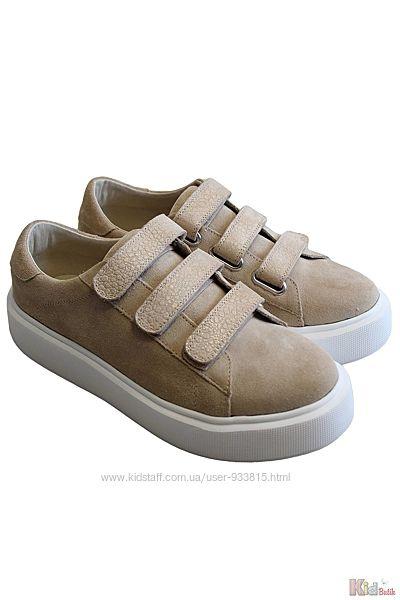 Кроссовки для девочки песочные на липучках Bistfor