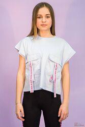 Стильная укороченая футболка для девочки Marions