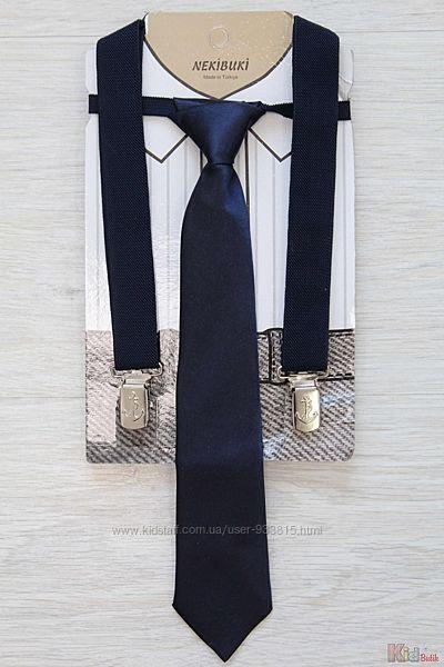 Подтяжки с галстуком темно-синего цвета для мальчика Nekibuki