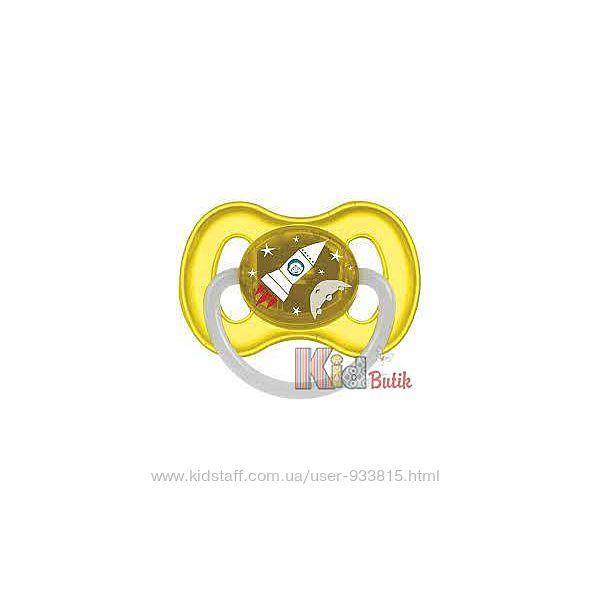 Пустышка латексная круглая желтого цвета для мальчика Canpol babies