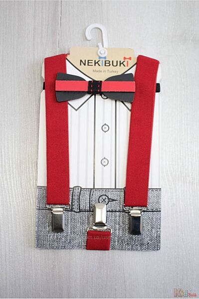 Бабочка красно-черная деревянная с красными подтяжками Nekibuki