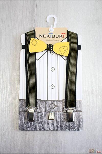 Бабочка деревянная с подтяжками черно-желтыми Заплатка Nekibuki