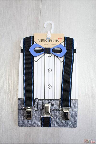 Бабочка деревянная с подтяжками черно-синими Пунктир Nekibuki