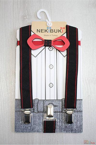 Бабочка деревянная с подтяжками черно-красными Пунктир Nekibuki