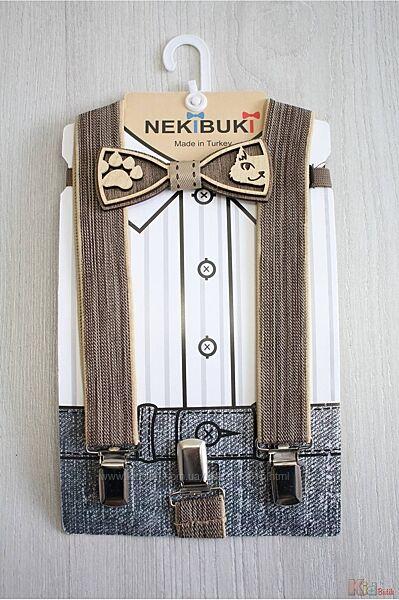 Бабочка деревянная с подтяжками бежевыми Cat  Nekibuki