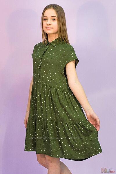 Платье насыщенно зеленого цвета в горошек Tiffosi