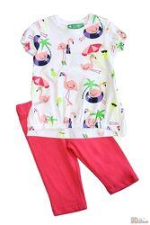 Комплект футболка с фламинго и капрями для девочки Cichlid