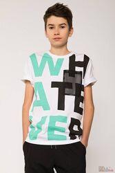 Футболка белого цвета с сетчастым карманом и надписью whatever для мальчика Reporter Young
