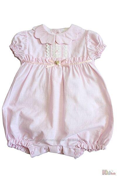 Ромпер розовый с молочным кружевом Babydola