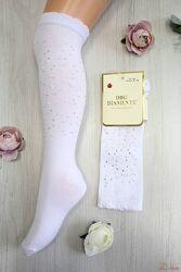 Гольфы белые со стразами и бусинами для девочки DBG socks