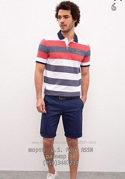 Мужские шорты U. S. Polo ASSN с поло, оригинал, синий цвет. Размер 30