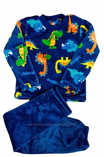 Детская теплая махровая пижама для мальчика велсофт