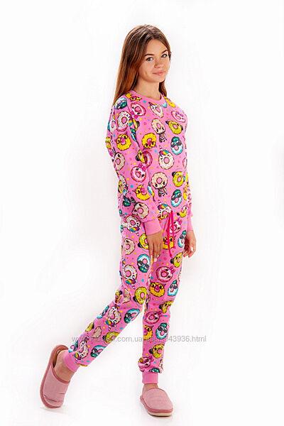 Пижама с начесом для девочки - подростка Пончики