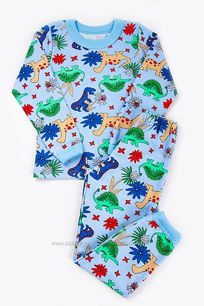 Детская пижама для мальчика Динозавры, AmongUs утепленная, начес