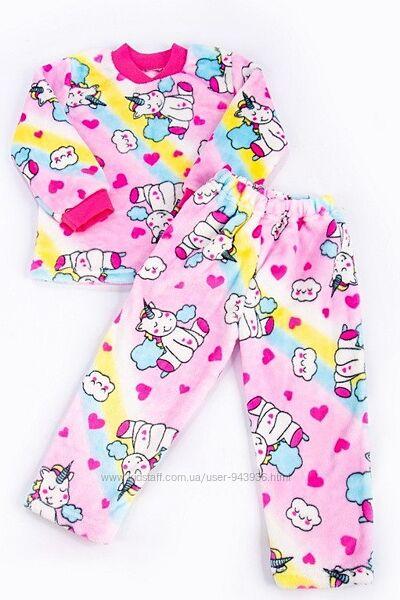 Детская теплая махровая пижама для девочки с единорожками, микки велсофт
