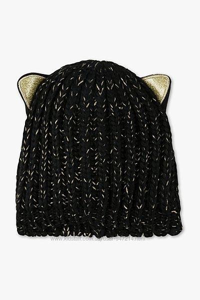 Нова чорна шапка з золотистою ниткою і вушками C&A