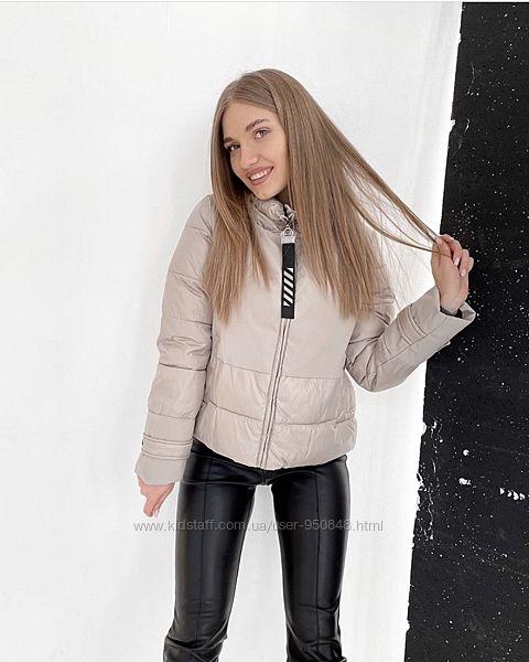 Женская стильная бежевая куртка  на молнии размер м38 l-40 snow&passion