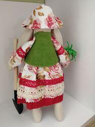 Интерьерная кукла заяц тильда зайка садовник огородник