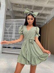 Летнее платье на запах с повязкой разные цвета