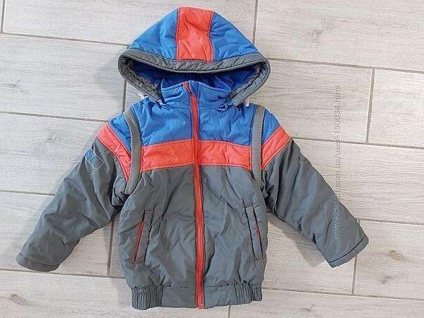 Деми куртка и жилет 2в1 тм Бемби на флисе - очень хорош сост - 4-5 лет