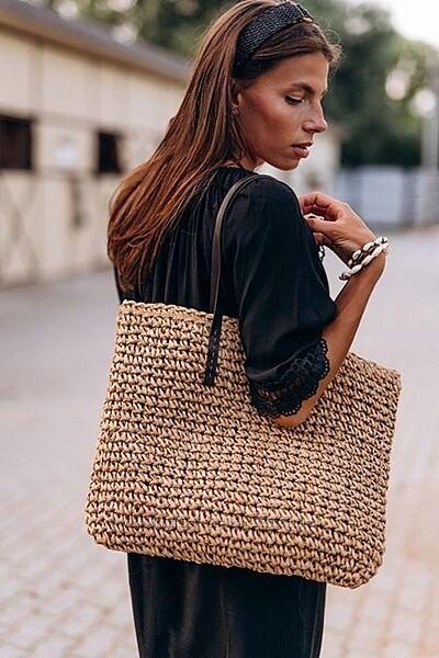 Летняя пляжная сумка вязаная плетёная