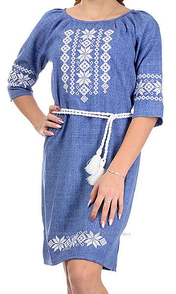Платье-Вышиванка женское. Льняное женское платье-вышиванка. Вышитое платье.