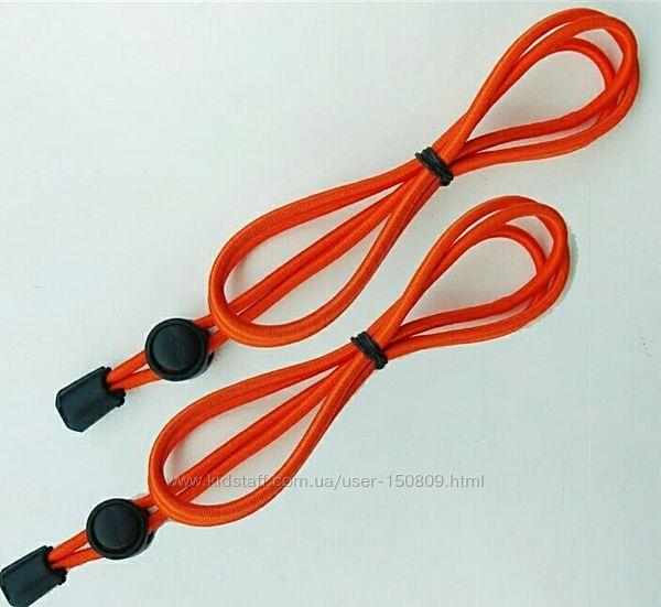 Оранжевые эластичные шнурки с фиксаторами. Умные шнурки. Антишнурки