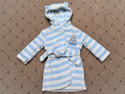 Детский халат, плюшевый халатик с капюшоном, 6-9 мес