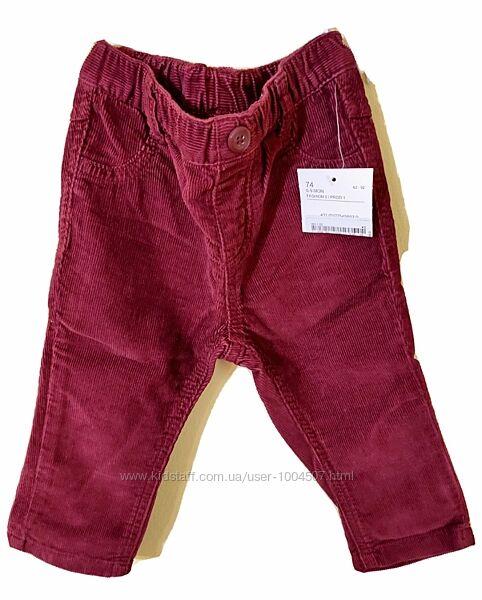 Брюки штанці вельветові від baby club р 74