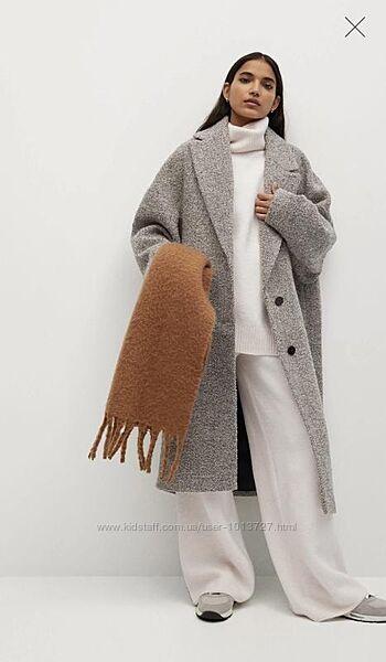 Объемное Красивое пальто Mango есть размиры S, M, l, XL , XXL.  шерсть