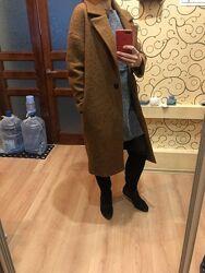 Шикарное длинное пальто оверсайз mango М шерсть