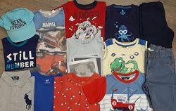 Комплект пакет фирменных вещей шорты, майки, футболки, поло на 3-4 года