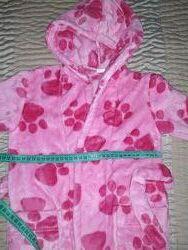 Халат для девочки, теплий , з капюшоном , розовий